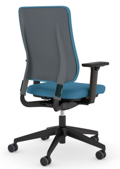 Bürotrend Büromöbel, Büroeinrichtung, Bürotechnik Bielefeld OWL | Viasit Bürodrehstuhl Drumback in blau mit dunkelgrauer Rückenschale